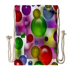Colored Bubbles Squares Background Drawstring Bag (large)
