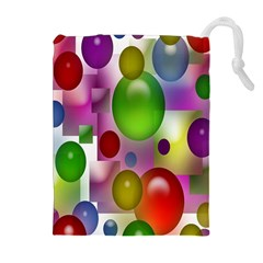 Colored Bubbles Squares Background Drawstring Pouches (Extra Large)