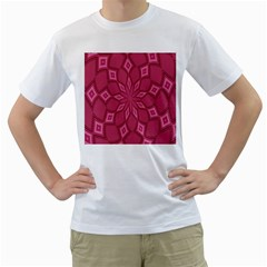 Fusia Abstract Background Element Diamonds Men s T Shirt (white) (two Sided)