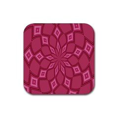 Fusia Abstract Background Element Diamonds Rubber Square Coaster (4 Pack)