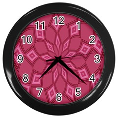 Fusia Abstract Background Element Diamonds Wall Clocks (black)
