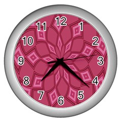 Fusia Abstract Background Element Diamonds Wall Clocks (silver)