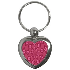 Fusia Abstract Background Element Diamonds Key Chains (heart)