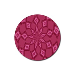 Fusia Abstract Background Element Diamonds Rubber Coaster (Round)