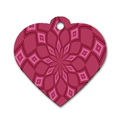 Fusia Abstract Background Element Diamonds Dog Tag Heart (two Sides)