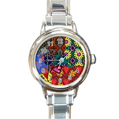 Digitally Created Abstract Patchwork Collage Pattern Round Italian Charm Watch