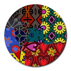 Digitally Created Abstract Patchwork Collage Pattern Round Mousepads