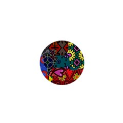 Digitally Created Abstract Patchwork Collage Pattern 1  Mini Magnets