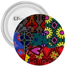 Digitally Created Abstract Patchwork Collage Pattern 3  Buttons