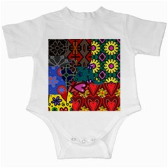 Digitally Created Abstract Patchwork Collage Pattern Infant Creepers
