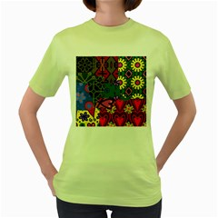 Digitally Created Abstract Patchwork Collage Pattern Women s Green T Shirt