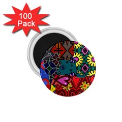 Digitally Created Abstract Patchwork Collage Pattern 1 75  Magnets (100 Pack)