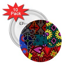 Digitally Created Abstract Patchwork Collage Pattern 2.25  Buttons (10 pack)