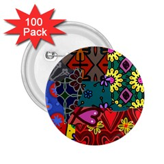 Digitally Created Abstract Patchwork Collage Pattern 2.25  Buttons (100 pack)