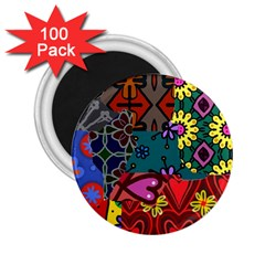 Digitally Created Abstract Patchwork Collage Pattern 2 25  Magnets (100 Pack)