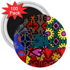 Digitally Created Abstract Patchwork Collage Pattern 3  Magnets (100 Pack)