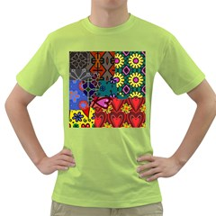 Digitally Created Abstract Patchwork Collage Pattern Green T-Shirt