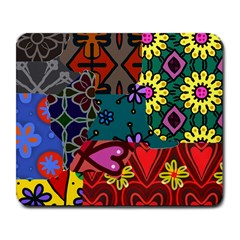 Digitally Created Abstract Patchwork Collage Pattern Large Mousepads