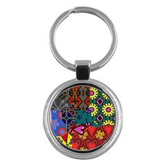 Digitally Created Abstract Patchwork Collage Pattern Key Chains (Round)