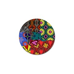 Digitally Created Abstract Patchwork Collage Pattern Golf Ball Marker (4 pack)