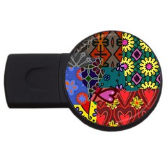 Digitally Created Abstract Patchwork Collage Pattern USB Flash Drive Round (1 GB)