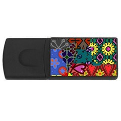 Digitally Created Abstract Patchwork Collage Pattern USB Flash Drive Rectangular (1 GB)