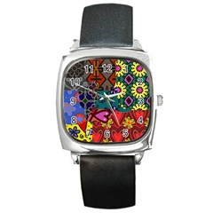 Digitally Created Abstract Patchwork Collage Pattern Square Metal Watch