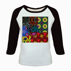 Digitally Created Abstract Patchwork Collage Pattern Kids Baseball Jerseys