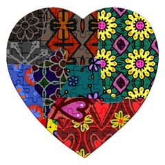 Digitally Created Abstract Patchwork Collage Pattern Jigsaw Puzzle (heart)