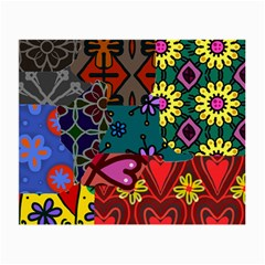 Digitally Created Abstract Patchwork Collage Pattern Small Glasses Cloth
