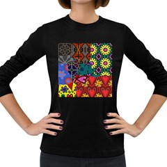 Digitally Created Abstract Patchwork Collage Pattern Women s Long Sleeve Dark T Shirts