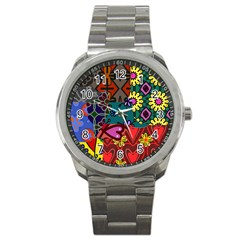 Digitally Created Abstract Patchwork Collage Pattern Sport Metal Watch