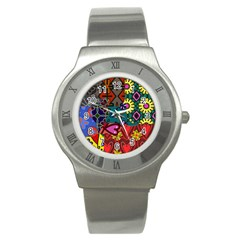 Digitally Created Abstract Patchwork Collage Pattern Stainless Steel Watch