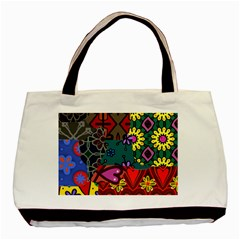 Digitally Created Abstract Patchwork Collage Pattern Basic Tote Bag