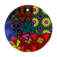 Digitally Created Abstract Patchwork Collage Pattern Round Ornament (two Sides)