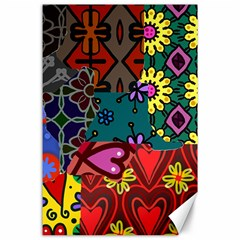 Digitally Created Abstract Patchwork Collage Pattern Canvas 24  x 36
