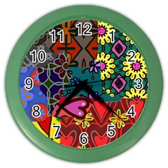 Digitally Created Abstract Patchwork Collage Pattern Color Wall Clocks