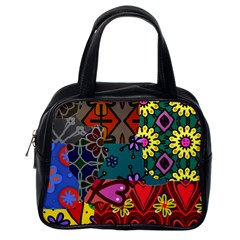 Digitally Created Abstract Patchwork Collage Pattern Classic Handbags (One Side)