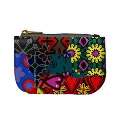 Digitally Created Abstract Patchwork Collage Pattern Mini Coin Purses