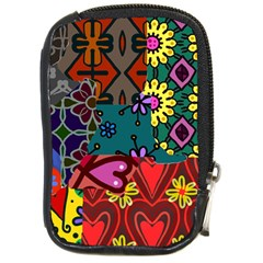 Digitally Created Abstract Patchwork Collage Pattern Compact Camera Cases