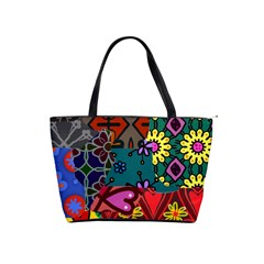 Digitally Created Abstract Patchwork Collage Pattern Shoulder Handbags
