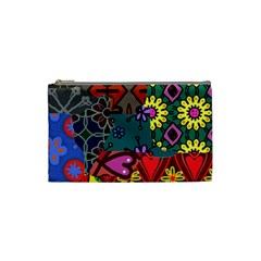Digitally Created Abstract Patchwork Collage Pattern Cosmetic Bag (small)