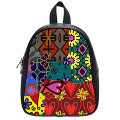 Digitally Created Abstract Patchwork Collage Pattern School Bags (Small)