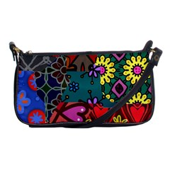 Digitally Created Abstract Patchwork Collage Pattern Shoulder Clutch Bags
