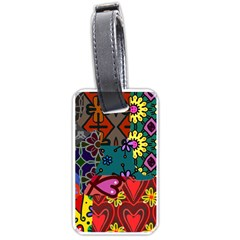 Digitally Created Abstract Patchwork Collage Pattern Luggage Tags (One Side)