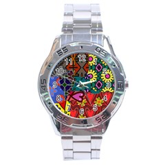 Digitally Created Abstract Patchwork Collage Pattern Stainless Steel Analogue Watch