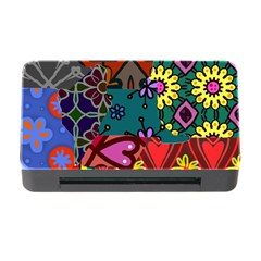 Digitally Created Abstract Patchwork Collage Pattern Memory Card Reader with CF