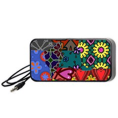 Digitally Created Abstract Patchwork Collage Pattern Portable Speaker (black)
