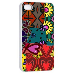 Digitally Created Abstract Patchwork Collage Pattern Apple iPhone 4/4s Seamless Case (White)