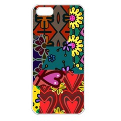 Digitally Created Abstract Patchwork Collage Pattern Apple Iphone 5 Seamless Case (white)